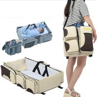 Wholesale Travelling Baby Beds - 3 in 1 Diaper Bag Travel Bassinet Change Station Baby Tote Bag Bed Muli-Purpose Mother Bag Stroller Bags Nappy Baby Bags KKA2179