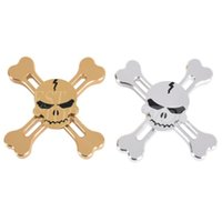 Wholesale Skull Head Alloy - Horror Design Vintage Gold Silver Aluminum Alloy Skull Head & Cross Fidget Spinner Pirate King Skeleton Hand Spinners Fingertips Gyro Toys