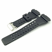 Wholesale watch strap buckle black silicone needle resale online - 2018 New replacement mm Mens Sports watches band for brand shock wrist watches G style shock watch Black resin silicone rubber watch strap