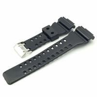 relojes de banda de resina al por mayor-2018 Nuevo reemplazo de 16 mm para hombre Relojes deportivos para marca relojes de pulsera estilo G reloj de choque Negro resina correa de reloj de caucho de silicona