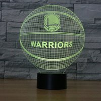 Wholesale Color Changing Paint - 3D Warriors basketball 3D Night Light Table Desk Optical Illusion Lamps 7 Color Changing Lights Lamp