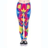 Wholesale Leggings Woman Face - Lady Leggings Ultra Color Face 3D Graphic Print Women Tight Capris Girl Colorful Pattern Stretchy Pencil Pants Yoga Soft Trousers (J43865)