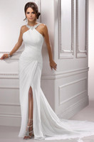 Wholesale Sparkle Beaded Dress - Sparkling Halter Crystal Beading Evening Dresses 2017 Sexy Slit Sleeveless Pleat Mermaid White Long Chiffon Formal Prom Party Gown 285