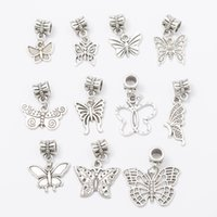 Wholesale Large Butterfly Pendant - Wholesale 11 different butterflies, large hole pendant accessories for European bracelet diy.M003