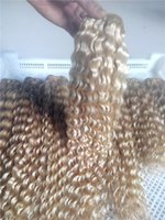 kıvırcık saçlı 613 toptan satış-LUMMY Işlenmemiş Bakire Saç Çift Atkı Brezilyalı Derin Kıvırcık Saç 100 g / adet Beautifuls # 613 Sarışın Bakire Insan Saçı Örgü Uzatma
