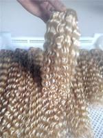 blonde vierge de cheveux non transformés achat en gros de-LUMMY Non Transformés Cheveux Vierges Double Trame Brésilienne Profonde Bouclés Cheveux 100g / pc Belle # 613 Blonde Vierge Extension De Cheveux Humains Weave Extension