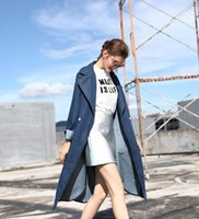 Wholesale Trench Coat Jeans Fashion - New Fashion Spring Autumn Vintage Denim Jackets Women's Jeans long Coat Ladies Jean Tops For Girls Outwear Women's Trench Coats