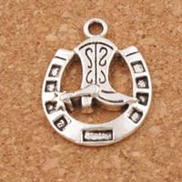 fer à cheval en argent achat en gros de-Bottes en fer à cheval Entretoise Perles 100pcs / lot 19x24.5mm pendentifs en argent tibétain alliage bijoux faits à la main DIY L277