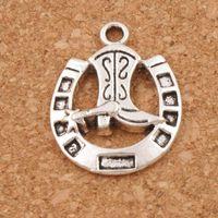 Wholesale Silver Horseshoes - Horseshoe Boots Spacer Charm Beads 100pcs lot 19x24.5mm Tibetan Silver Pendants Alloy Handmade Jewelry DIY L277