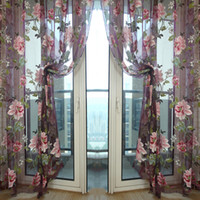 Wholesale Bamboo Wall Panels - Wholesale-Stylish Floral Tulle Voile Sheer Curtain Cortinas Panel For Living Room Wall Door Window Home Decor Drapery Valance 1m x 2m