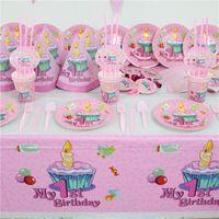 pembe plakalar peçeteler toptan satış-Toptan-61 adet 20 kişi Pembe 1st doğum günü partisi kağıt tabak bardak / cam peçete afiş bebek kız 1 yaşındaki tarafının tek kullanımlık dekorasyon