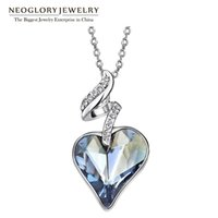 Wholesale Neoglory Necklace - Wholesale-Neoglory Austrian Crystal Rhinestones Four Color Heart Love Chain Necklaces & Pendants For Women 2016 Gift India Jewelry JS4 HE1