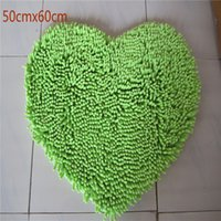 Wholesale Chenille Heart Rugs - Free Shipping heart shape big green New Thick chenille Carpet Shaggy Rugs Bath Mat Bathroom Carpet Colours for living bed room water absorb
