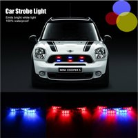 Wholesale Emergency Strobe Lights Red White - 6x3 LED Police Car Warning Strobe Lights Flash Firemen Emergency Light Lamp 3 Modes Red and Blue Lighting car decoration