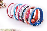 Wholesale Dog Leashes Collars Bling - Leather Bling Pet collar with Rhinestone Dog Collars Leashes S M L XL size 7 colors DHL free shipping