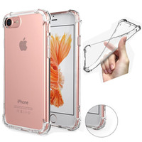 Wholesale Iphone Rubber Gel Covers - For Iphone 7 plus Samsung S7 Edge S8 case Shockproof Tpu Case Cover Transparent Soft Thicken Clear Gel Rubber Bulky Back Corner