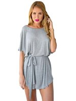 Batwing Sleeve Oversized T рубашка Платье Micro Mini с поясом Loose Simple Grey Tunic Summer Casual Sexy 2017 Fashion Ladies