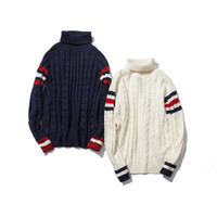 Wholesale Korean Knit Sweater For Men - Wholesale- Striped turtleneck sweater in autumn and winter color Korean Japanese design for man and women knitted sweaters
