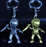Wholesale Keychain Ring Antique Bronze - 10pcs 2Style New Movie Seed of Chucky Curse Of Chuck Keychain Antique silver Plated And Antique Bronze Plated Metal Key chain Key Ring