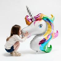 regalos del arco iris para los niños al por mayor-Rainbow Unicorn Foil Balloons Animal Party Supplies Ballons Inflatable Classic Toys Decoraciones de cumpleaños para niños regalo