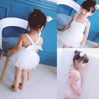 Wholesale Hot Pink Swimsuit 4t - Swimsuit Kids Swimwear Angel Wing Tutu Tulle Skirt Baby Swimming Takini One Piece Toddler Swim Clothing Children Clothes Hot Sale