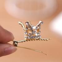 altın kaplamalı kristal taç toptan satış-Kızlar Çocuklar Sevimli Kristal Prenses Parti Taç Tiara Saç Pin Klipler Gümüş Kaplama ve Altın Kaplama Bayan Saç Aksesuarları YENI