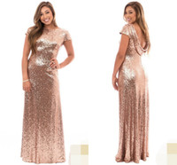 Wholesale short sleeve open back wedding dress for sale - Rose Gold Plus Size Long Bridesmaid Dresses with Short Sleeve Ruffles Open Back Wedding Guest Evening Gowns Maid of Honor Formal Wear