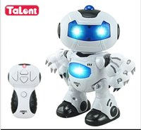 Wholesale Electric Music Rotating - Wholesale- 2016 Hot 360 Rotating Children Electronic Walking Dancing Smart Space Robot Kids Cool Astronaut Model Music Light kids toys
