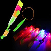 Wholesale Sling Shot Helicopter - Wholesale-Funny Led Light Shining Rocket Flash Arrow Helicopter Rubber Band Sling Shot