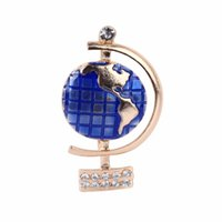 Wholesale Men Special Design Coat - Wholesale- Hot Sale Special Design Globe Brooch Men Women Suit Pin Blue Color Earth Metal Fashion Style Coat Brooches Gift for girl X180