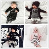 trajes para niñas pequeñas al por mayor-Nuevo INS Baby Boys Girls Set de letras Top T-shirt + Pants Kids Toddler Infant Casual trajes de manga larga de primavera niños trajes ropa regalo