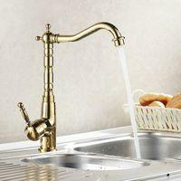 antike messing küchenspüle wasserhähne großhandel-Großhandel-Auswind Antique Brass Gold Wasserhahn Küche Schwenkarmaturen Bad Wasserhahn Waschbecken Waschtisch Mischbatterie