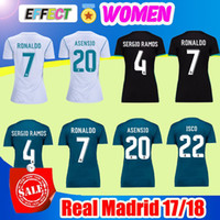 Maillots De Dames Football Football Pas Cher-2018 Ronaldo Camisetas de Futbol Maillots de football Femmes du Real Madrid Troisième fille Lady 17/18 SERGIO RAMOS ASENSIO ISCO MODRIC Chemises de football