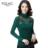 Wholesale Turtleneck Women Lace - Spring and Autumn women lace tops Fashion Casual Long sleeved Women blouse shirt Turtleneck Diamonds lace shirt plus size blusas
