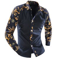 Wholesale Shirt New Unique - Wholesale- 2017 new Autumn Long Sleeve Casual Men Shirt Floral Blue And White Porcelain Print Patchwork Unique Design Man Fashion Shirt
