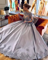 Wholesale Jewel Sparkly Evening Dress - 2018 Lilac Plus Size Ball Gown Prom Dresses Bateau Neck Long Sleeves Crystal Appliques Satin Sparkly Evening Gowns Formal Celebrity Dresses