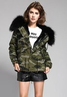 Wholesale Mini Jacket S - MR&MRS furs Camouflage military Jacket women's mini parkas with Real raccoon fur hooded soft rabbit fur liner