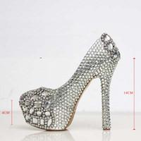 bombas de baile de diamantes al por mayor-Plata personalizada hacer más tamaño de tacón alto cristales y diamantes de imitación boda nupcial bombas zapatos Diamond Lady Shoes Party Prom High Heels