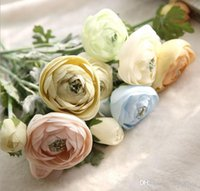 Wholesale Silk Flower Ranunculus - Flocky ranunculus flower 6 colors artificial silk flowers 5 colors for wedding party centerpieces home holiday decoration 15636