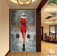 Wholesale Sexy Paint Handmade - Handmade Oil Painting Sexy Portraits Art Beautiful Red Skirt Sexy Shopping Lady Picture Wall Art Girl Picture Home Decor