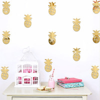 3d Espejos De Decoración Baratos-Decoración de pared creativa DIY Dormitorio Dormitorio de niños Decorar Fruta de piña Espejo Wall Stickers Decoración de hogar extraíble 7 2jz C R