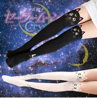 sevimli denizci üstü toptan satış-Toptan-Sailor Moon Yüksek Cosplay Kostüm Kristal Luna Kitty Sevimli Külotlu Kadın Külot J-Bg Pembe Stocking Tayt Aksesuar Diz stocking