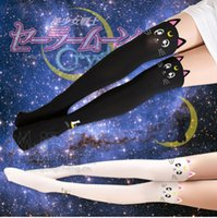 Wholesale Pink Sailor Costumes - Wholesale- Sailor Moon High Cosplay Costume Crystal Luna Kitty Cute Pantyhose Women Panty J-Bg Pink Stocking Tights Accessory Knee stocking