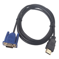 Wholesale Vga Cable For Tablet - 100pcs 1.8m 6ft HDMI to VGA Male Adapter Converter Cable for tablet pc tv mobile phone 1080p