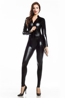 Wholesale Skinny Leather Dress - FREE SHIP Sexy Catsuit Halter Neck Black Wet Look PVC Fetish Clubwear jumpsuit fancy dress 7046