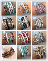 Wholesale Antique Enamel Gold Bracelet - Leather Bracelet Antique Cross Anchor Love Peach Heart Owl Bird Believe Pearl Knitting Bronze Charm Bracelets 30 colors TA134