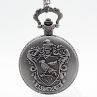 Wholesale Gray Pocket Watch - Vintage Silver Grey Ravenclaw Harry Potter Hogwarts College Quartz Pocket Watch Analog Pendant Necklace Mens Womens Watches Gift