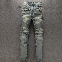 marcas famosas designer jeans venda por atacado-1 PCS Paris Designer Mens Azul Lavado Destruído Biker Jeans Destruído Denim Bolsos Famosa marca new tamanho 28-38