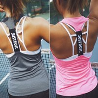 Wholesale Running Singlet Women - JUST DO IT Women Gym Sports Sleeveless Shirts Tank Tops Fitness Running Clothes Loose Quick Dry Tops Vest Singlets