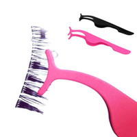 pinzas de pestañas postizas al por mayor-Nueva venta caliente Herramienta de Maquillaje de Pestañas Falsas Pestañas Falsas de Acero Inoxidable Fake Eye Lash Applicator Clip Maquillaje Pinzas